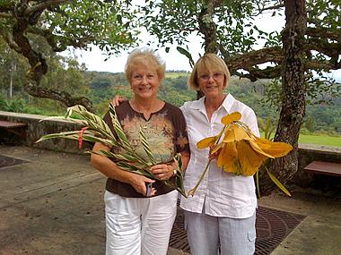 Ruth Poulton and Sue Kuuskmae at National Tropical Gardens in Kauai.