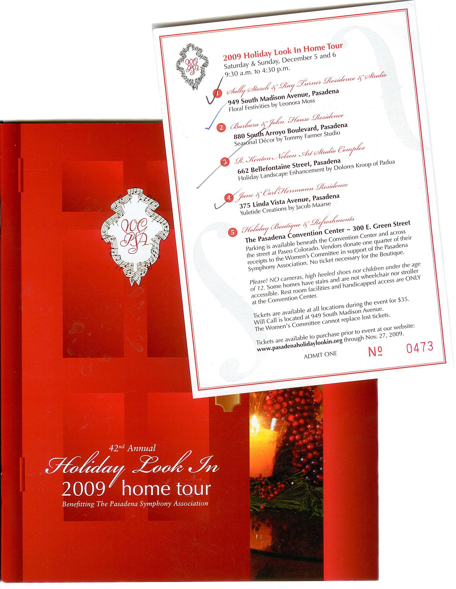 Home Tour Program and Ticket