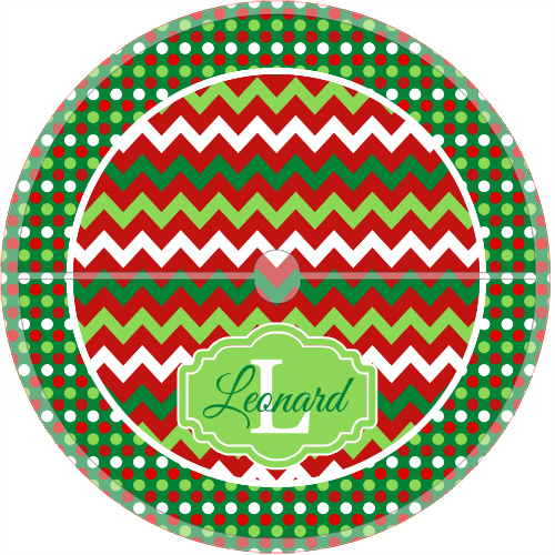 Monogrammed Christmas Tree Skirt Chevron & Dots