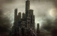 castle on cliff 3d render - closeup