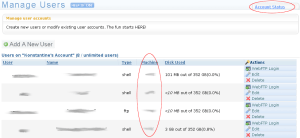 "Find your webserver name in the ""Machine"" column or under ""Account Status"""