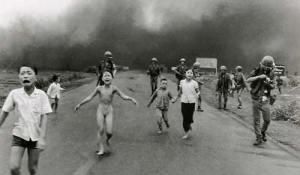 Black & White picture of crying children fleeing in Vietnam