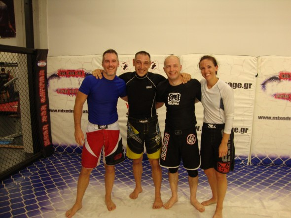 From L to R: Brent, Dimitri D. (owner and main instructor of Hellas Top Team), Dimitri, and Stephanie after a training session