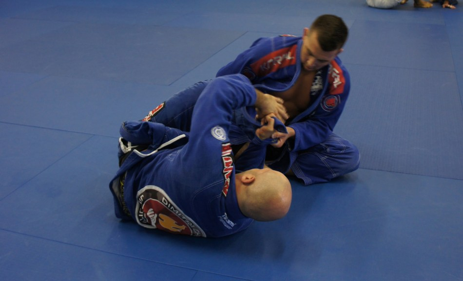 The professors going at each other during the open mat