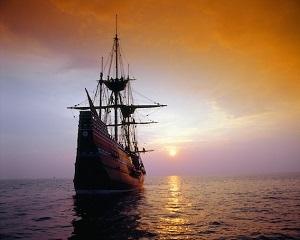 Mayflower departs Southampton, 1620.