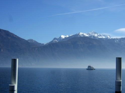 Lago di Como, Ausblick vom Fährhafen in Menaggio.