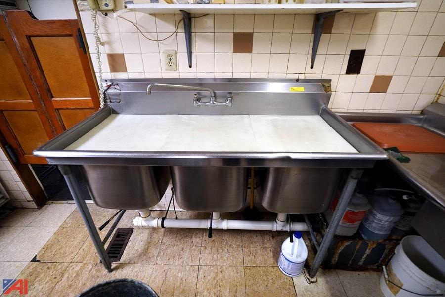stainless steel 3 bay sink with grease trap