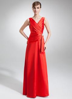 A-Linie/Princess-Linie V-Ausschnitt Bodenlang Charmeuse Abendkleid mit Rüschen Kristalle Blumen Brosche (017002579)