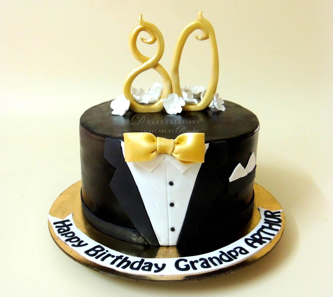 Black Suit 80th Birthday Cake