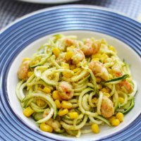 Zucchini Noodles with Creamy Old Bay Avocado Sauce, Corn + Seafood