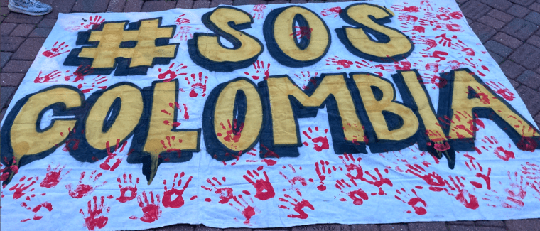 #SOSColombia Colombians of Dover New Jersey protest authoritarian government in Colombia