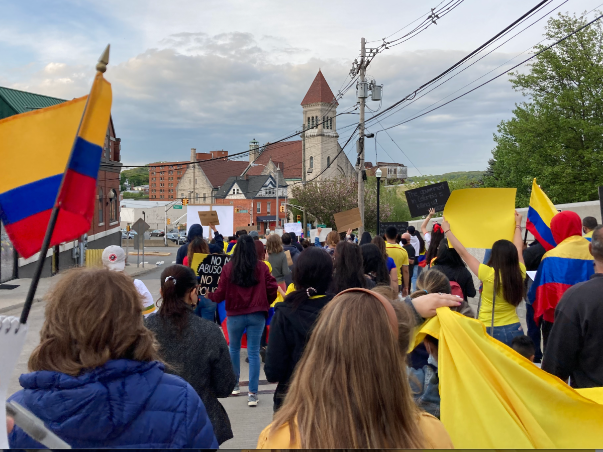 Colombians in Dover, New Jersey, protest against an authoritarian government