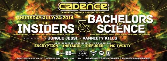 THU July 24 Cadence presents Bachelors of Science & The Insiders