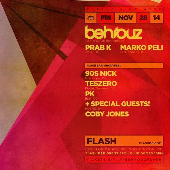 Freaky Friday: Behrouz, Prab K, Marko Peli, #BodyFeel (Coby Jones & Friends)  at Flash