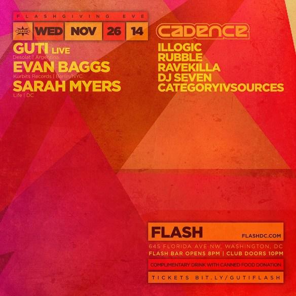 Flashgiving Eve: Guti (LiVE), Evan Baggs (Kurbits Records   Berlin/NYC), Sarah Myers at Flash + Cadence Local Showcase in the Flash Bar