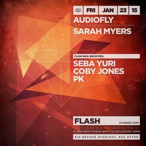 Audiofly, Sarah Myers at Flash, with #BODYFEEL ft. Seba Yuri in the Flash Bar