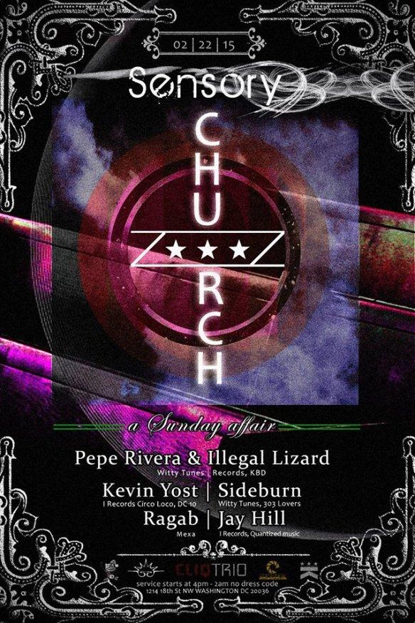 Church presents Sensory take over (Kevin Yost, Sideburn, Jay Hill, Ragab, IllegalLizard, Pepe Rivera) at Public Bar