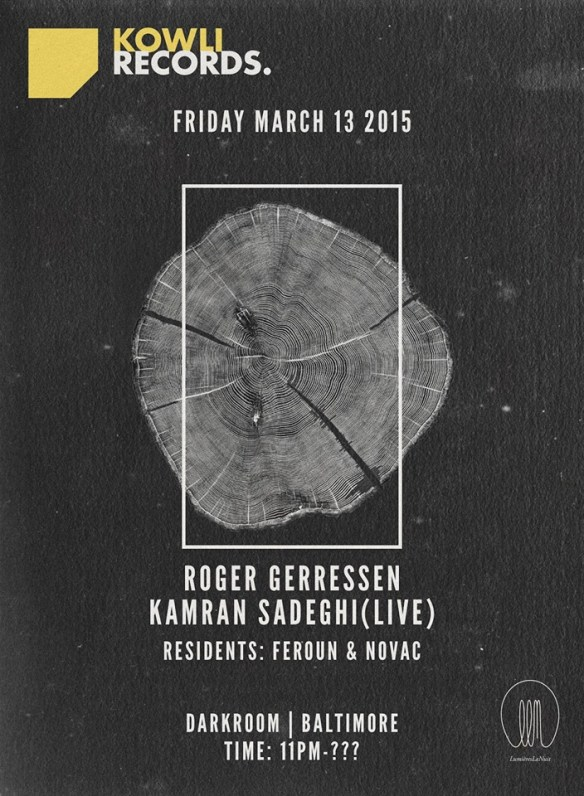 Kowli Presents: Roger Gerressen & Kamran Sadeghi (Live) at The Dark Room, Baltimore