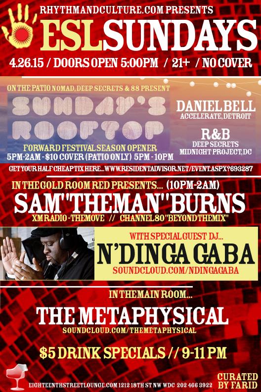 """ESL Sundays with Sam """"The Man"""" Burns, N'Dinga Gaba & The Metaphysical at Eighteenth Street Lounge"""
