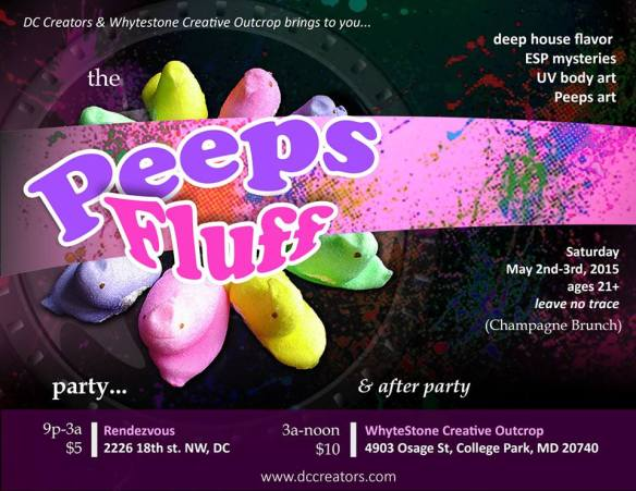 """""""Peeps Fluff"""" party with DJ Daryl Climat Northrop, Chris Lewis & Wizdom at Dr. Clock's Nowhere Bar"""