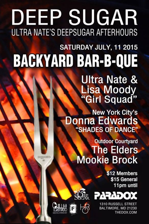 Deep Sugar Backyard BBQ with Ultra Naté, Lisa Moody, Donna Edwards & the Deep Sugar Residents at The Paradox, Baltimore