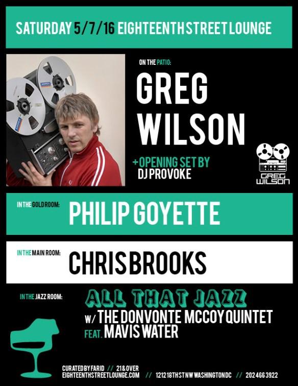 ESL Saturday with Greg Wilson, DJ Provoke, Philip Goyette and Chris Brooks at Eighteenth Street Lounge
