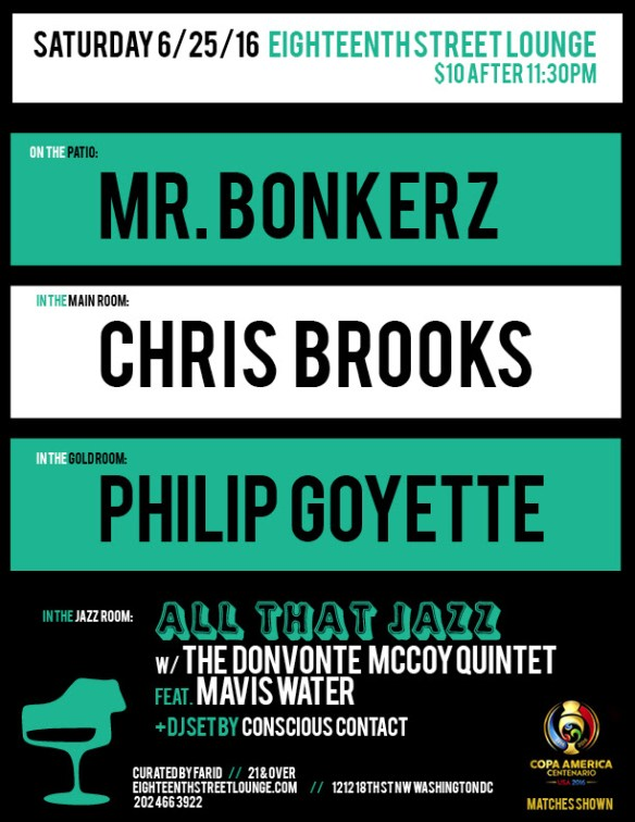 ESL Saturday with Mr. Bonkerz, Chris Brooks, Philip Goyette and Conscious Contact at Eighteenth Street Lounge