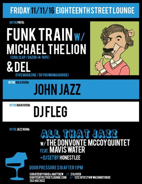ESL Friday featuring Funk Train with Michael the Lion & Del, John Jazz, DJ Fleg and Honest Lee at Eighteenth Street Lounge