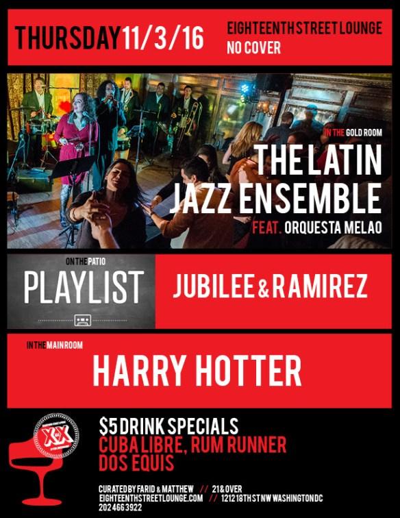 ESL Thursday with Playlist featuring Jubilee & Ramirez, Harry Hotter at Eighteenth Street Lounge