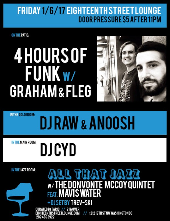 ESL Friday with 4 Hours of Funk featuring Graham & Fleg, DJ Raw & Anoosh, DJ Cyd and Trev-Ski at Eighteenth Street Lounge