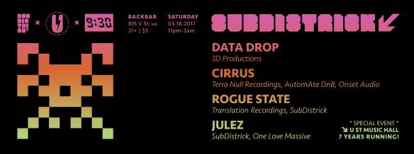 SubDistrick! Special Event: 7 Years of U Street Music Hall at Backbar