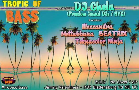 Tropic of Bass in DC with DJ Chela at Jimmy Valentine's Lonely Hearts Club