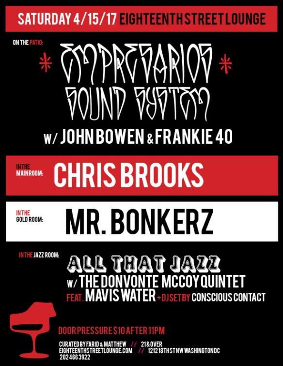 ESL Saturday with Empresarios Sound System featuring John Bowen & Frankie 40, Chris Brooks, Mr Bonkerz & Conscious Contact at Eighteenth Street Lounge
