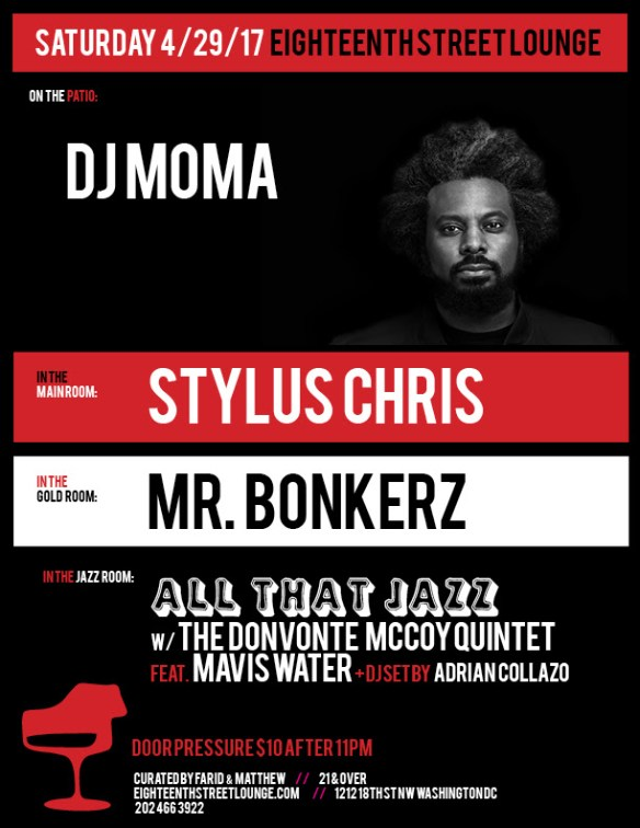 ESL Saturday with DJ Mama, Stylus Chris, Mr Bonkerz and Adrian Collazo at Eighteenth Street Lounge