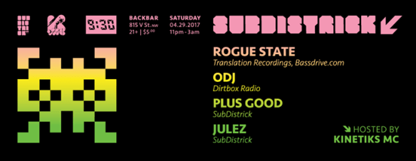 SubDistrick! Special VINYL edition with Rogue State, Odj, Plus Good & Jules at Backbar