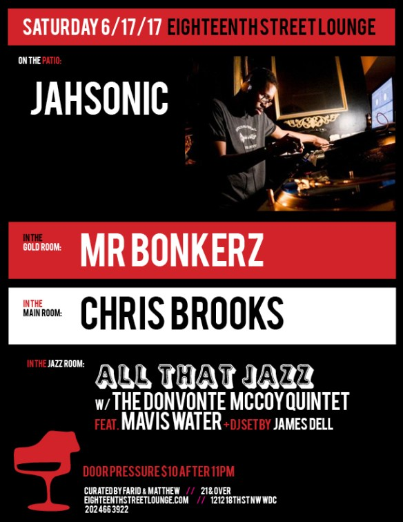 ESL Saturday with Jahsonic, Mr Bonkerz, Chris Brooks & James Dell at Eighteenth Street Lounge