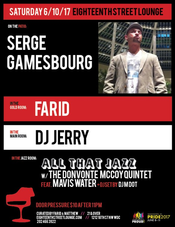 ESL Saturday with Serge Gamesbourg, Farid, DJ Jerry and DJ M Dot at Eighteenth Street Lounge