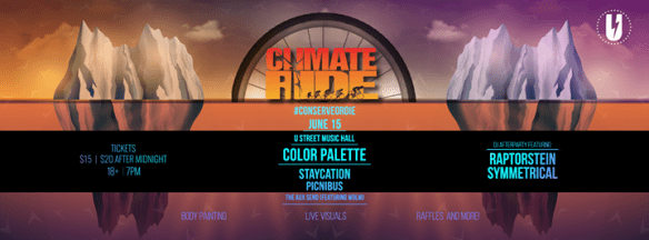 Glacier Ride Fundraiser with Color Palette, Staycation, Picnics, WOLM, The Aux Send, Raptorstein & Symmetrical at U Street Music HallGlacier Ride Fundraiser with Color Palette, Staycation, Picnics, WOLM, The Aux Send, Raptorstein & Symmetrical at U Street Music Hall