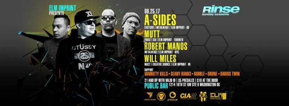 Rinse (Sunday Sessions) with A-Sides, Mutt, Robert Manos & Will Miles at Public Bar