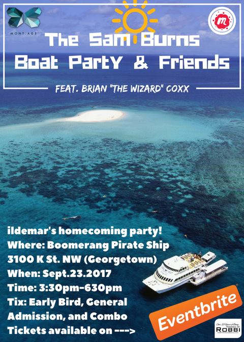 The Sam Burns Boat Party & friends featuring Brian Coxx on the Boomerang Pirate Ship