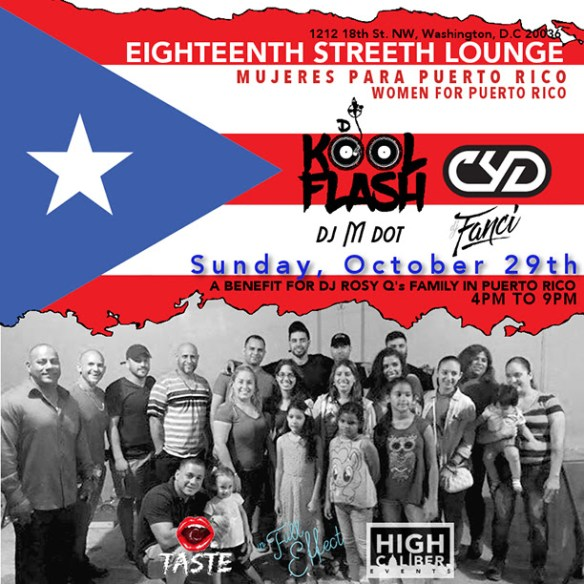 ESL Mujeres Para Puerto Rico Fundraiser with DJ Kool Flash, Cyd, DJ M Dot & Fancy at Eigheenth Street Lounge