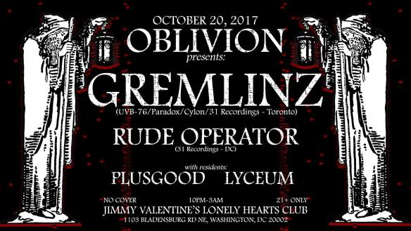 Oblivion featuring Gremlinz, Rude Operator, Plusgood & Lyceum at Jimmy Valentine's Lonely Hearts Club