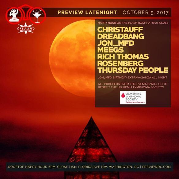 Preview Late Night: Jon_MFD's Birthday Party & LLS Fundraiser with Christauff, Dreadbang, Jon_Mfd, Meegs, Rich Thomas, Rosenberg & Thursday People at Flash