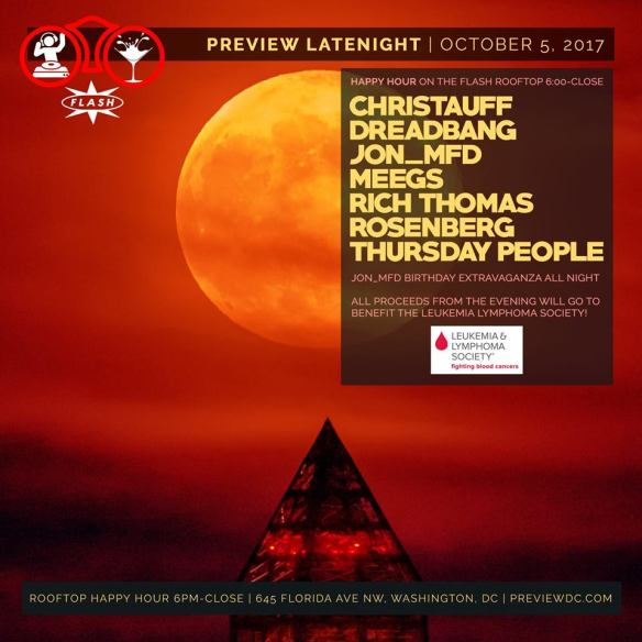 Preview Late Night: Jon_MFD's Birthday Party & LLS Fundraiser with Christauff, Dreadbang, Jon_Mfd, Meegs, Rich Thomas, Rosenberg & Thursday People at Flash