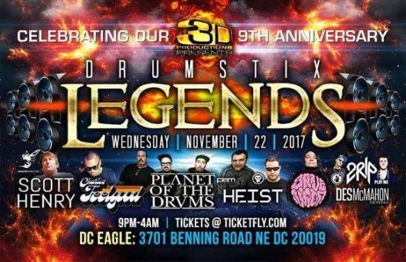 3D Presents: Drumstix Legends at The DC Eagle