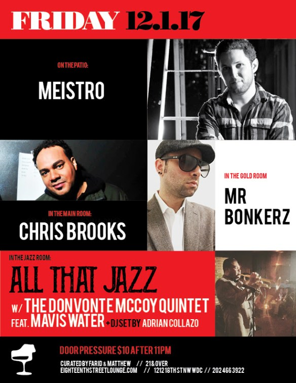 ESL Friday with Meistro, Chris Brooks, Mr Bonkerz & Adrian Collazo at Eighteenth Street Lounge