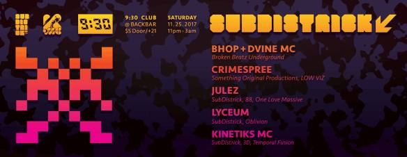 SubDistrick! - November 2017 at Backbar