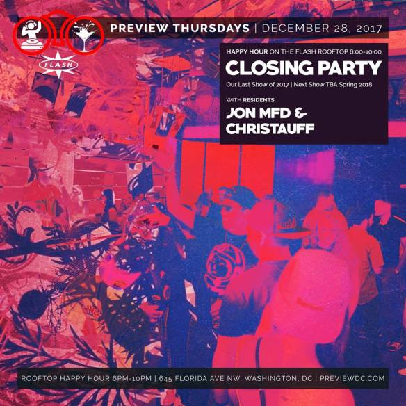 Preview Rooftop Happy Hour Closing Party with Jon MFD & Christauff at Flash