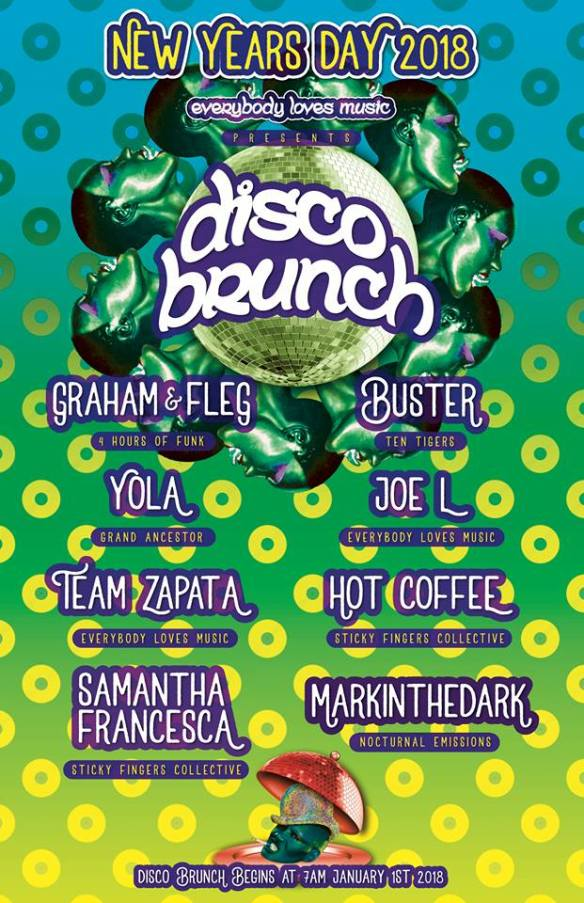 Disco Brunch with Graham & Fleg, Yola, Team Zapata, Samantha Francesca, Buster, Joe L, Hot Coffee & Markinthedark at Warehouse Location