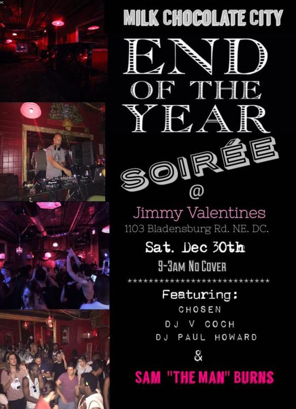 "End of the year Soirée with Sam ""The Man"" Burns, Chosen, DJ V Coch & DJ Paul Howard at Jimmy Valentine's Lonely Hearts Club"